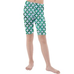 Circles3 White Marble & Green Marble (r) Kids  Mid Length Swim Shorts by trendistuff