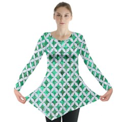 Circles3 White Marble & Green Marble Long Sleeve Tunic