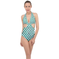 Circles3 White Marble & Green Marble Halter Front Plunge Swimsuit