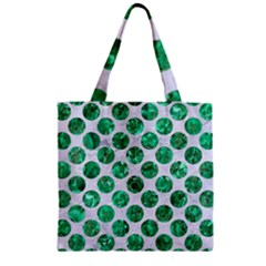 Circles2 White Marble & Green Marble (r) Zipper Grocery Tote Bag by trendistuff