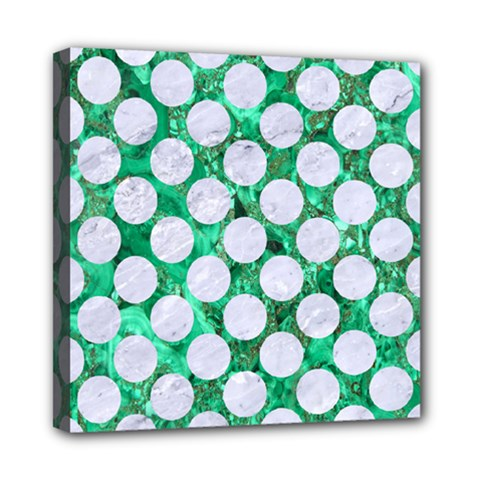 Circles2 White Marble & Green Marble Mini Canvas 8  X 8  by trendistuff