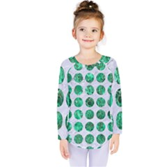 Circles1 White Marble & Green Marble (r) Kids  Long Sleeve Tee