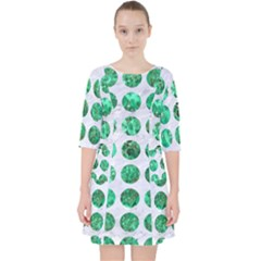 Circles1 White Marble & Green Marble (r) Pocket Dress
