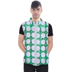Circles1 White Marble & Green Marble Men s Puffer Vest