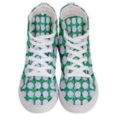 Circles1 White Marble & Green Marble Women s Hi Top Skate Sneakers