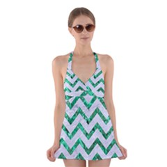 Chevron9 White Marble & Green Marble (r) Halter Dress Swimsuit