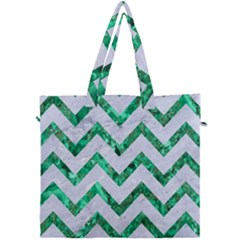 Chevron9 White Marble & Green Marble (r) Canvas Travel Bag by trendistuff