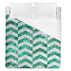 Chevron2 White Marble & Green Marble Duvet Cover (queen Size) by trendistuff