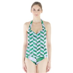 Chevron1 White Marble & Green Marble Halter Swimsuit by trendistuff