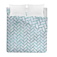 Brick2 White Marble & Green Marble (r) Duvet Cover Double Side (full/ Double Size) by trendistuff
