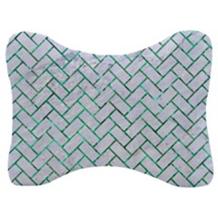 Brick2 White Marble & Green Marble (r) Velour Seat Head Rest Cushion by trendistuff