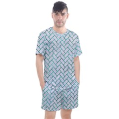 Brick2 White Marble & Green Marble (r) Men s Mesh Tee And Shorts Set