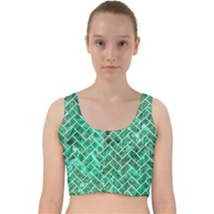 Brick2 White Marble & Green Marble Velvet Racer Back Crop Top