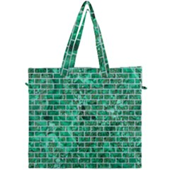 Brick1 White Marble & Green Marble Canvas Travel Bag