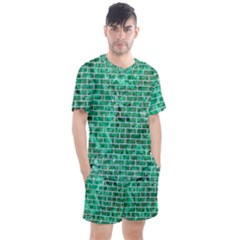 Brick1 White Marble & Green Marble Men s Mesh Tee And Shorts Set
