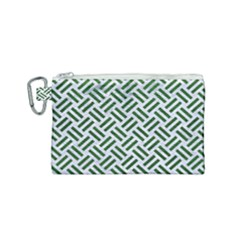 Woven2 White Marble & Green Leather (r) Canvas Cosmetic Bag (small) by trendistuff