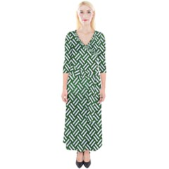 Woven2 White Marble & Green Leather Quarter Sleeve Wrap Maxi Dress