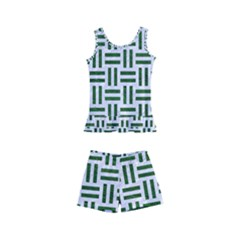 Woven1 White Marble & Green Leather (r) Kid s Boyleg Swimsuit