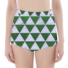 Triangle3 White Marble & Green Leather High Waisted Bikini Bottoms