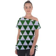 Triangle3 White Marble & Green Leather Tie Up Tee