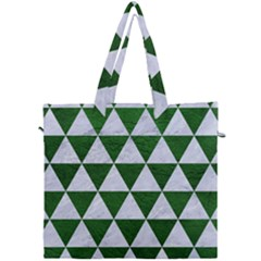 Triangle3 White Marble & Green Leather Canvas Travel Bag by trendistuff