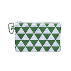 Triangle3 White Marble & Green Leather Canvas Cosmetic Bag (small) by trendistuff