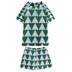 Triangle2 White Marble & Green Leather Kids  Swim Tee And Shorts Set by trendistuff