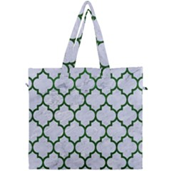 Tile1 (r) White Marble & Green Leather Canvas Travel Bag by trendistuff