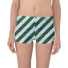 Stripes3 White Marble & Green Leather (r) Boyleg Bikini Bottoms by trendistuff