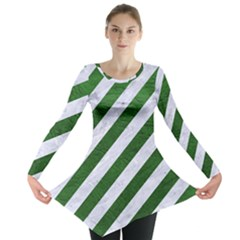 Stripes3 White Marble & Green Leather (r) Long Sleeve Tunic