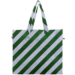 Stripes3 White Marble & Green Leather (r) Canvas Travel Bag by trendistuff
