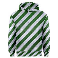 Stripes3 White Marble & Green Leather (r) Men s Overhead Hoodie
