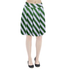 Stripes3 White Marble & Green Leather Pleated Skirt