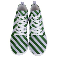 Stripes3 White Marble & Green Leather Men s Lightweight High Top Sneakers