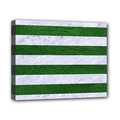 Stripes2 White Marble & Green Leather Canvas 10  X 8  by trendistuff