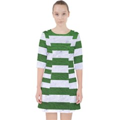 Stripes2 White Marble & Green Leather Pocket Dress