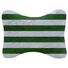 Stripes2 White Marble & Green Leather Velour Seat Head Rest Cushion