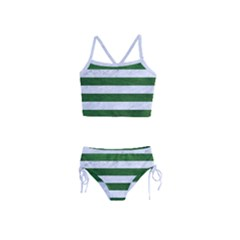 Stripes2 White Marble & Green Leather Girls  Tankini Swimsuit