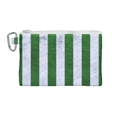Stripes1 White Marble & Green Leather Canvas Cosmetic Bag (medium)
