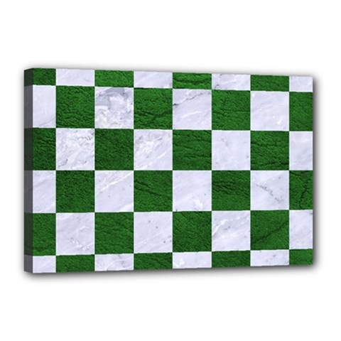 Square1 White Marble & Green Leather Canvas 18  X 12  by trendistuff