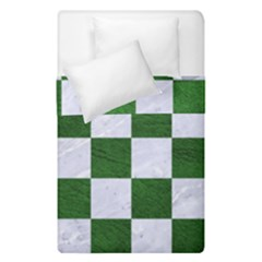 Square1 White Marble & Green Leather Duvet Cover Double Side (single Size) by trendistuff
