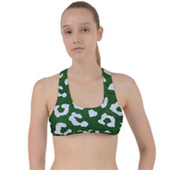Skin5 White Marble & Green Leather (r) Criss Cross Racerback Sports Bra