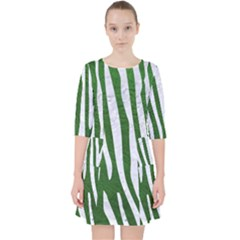 Skin4 White Marble & Green Leather (r) Pocket Dress