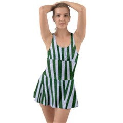 Skin4 White Marble & Green Leather Ruffle Top Dress Swimsuit