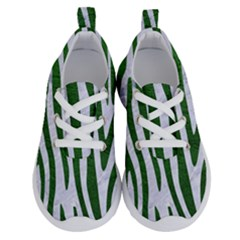 Skin4 White Marble & Green Leather Running Shoes