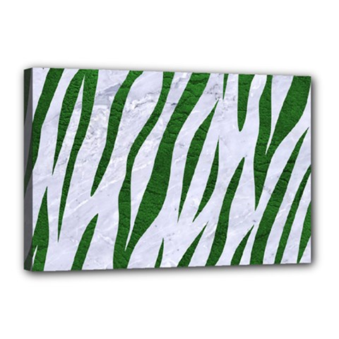 Skin3 White Marble & Green Leather (r) Canvas 18  X 12  by trendistuff