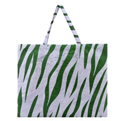 Skin3 White Marble & Green Leather (r) Zipper Large Tote Bag by trendistuff