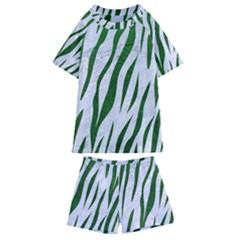 Skin3 White Marble & Green Leather (r) Kids  Swim Tee And Shorts Set
