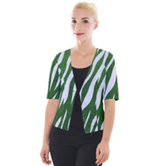 Skin3 White Marble & Green Leather Cropped Button Cardigan