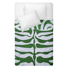 Skin2 White Marble & Green Leather (r) Duvet Cover Double Side (single Size) by trendistuff